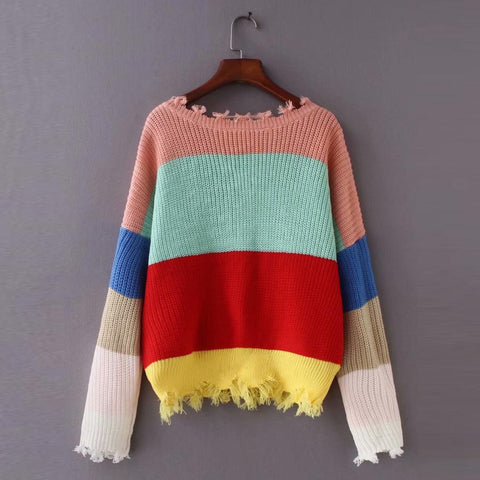 Color stripe long sleeve pullovers sexy deep v-neck sweater top