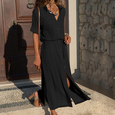 Casual Long Sleeve Button Shirt Maxi Dress