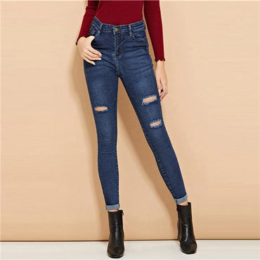 Blue Ripped Roll-Up Skinny Jeans