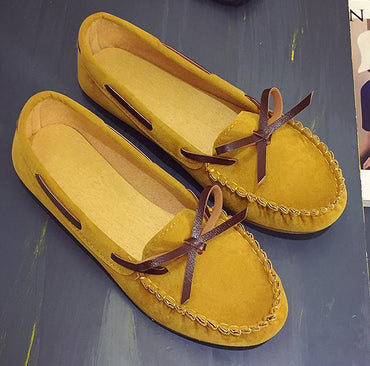 Genuine Leather Comfortable Breathable Soft Sole Lazy Loafers Flat Shoes