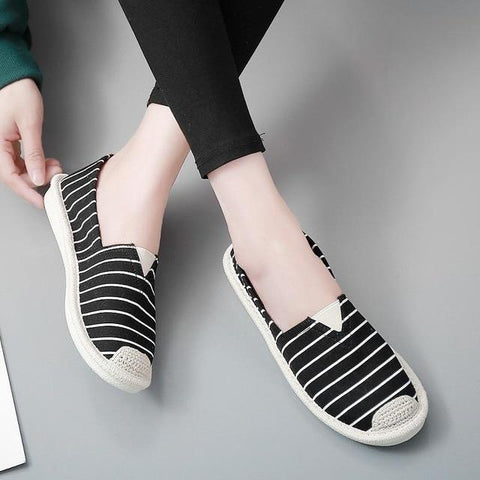 Stripe Flat Fisherman Slip On Lightweight Breathable Loafers Shoes