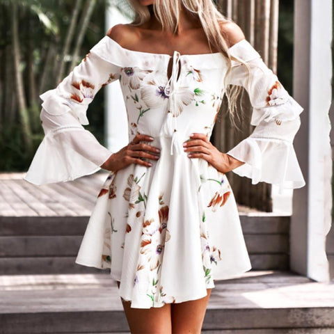 Long Sleeve Off Shoulder Print Tassel Boho Dress