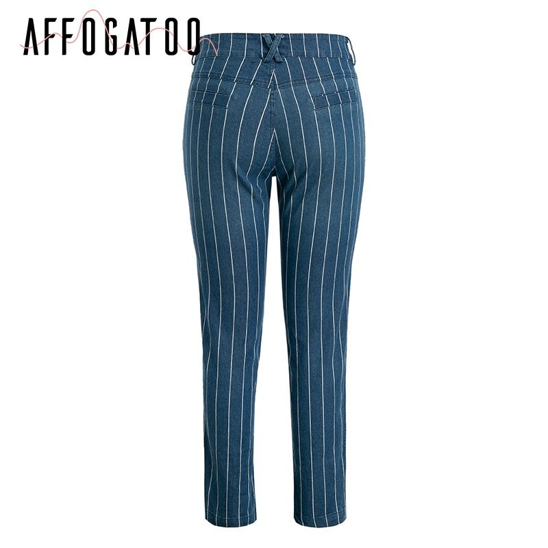 Sexy stripe denim zipper pants Fashion pocket blue jeans