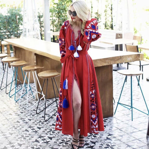 Geometric Embroidered Tassel V Neck Dress