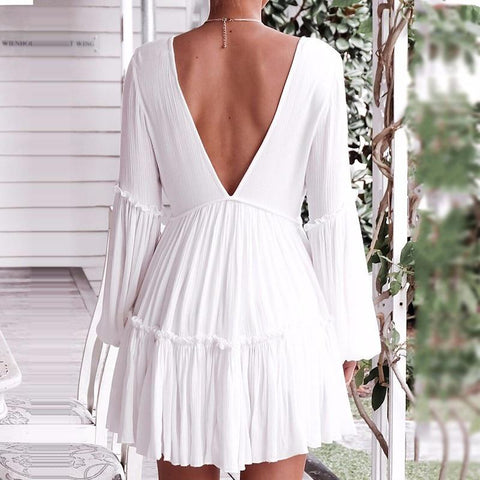 Sexy Deep V Neck Ruffle Backless Lantern Mini Dress