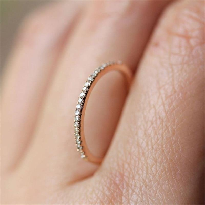 Simple Cubic Zirconia Lovers Rose Gold Ring