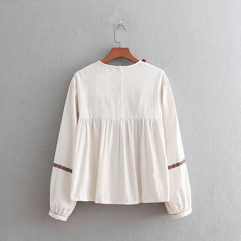 Embroidery tassel splicing kimon smock blouse shirt