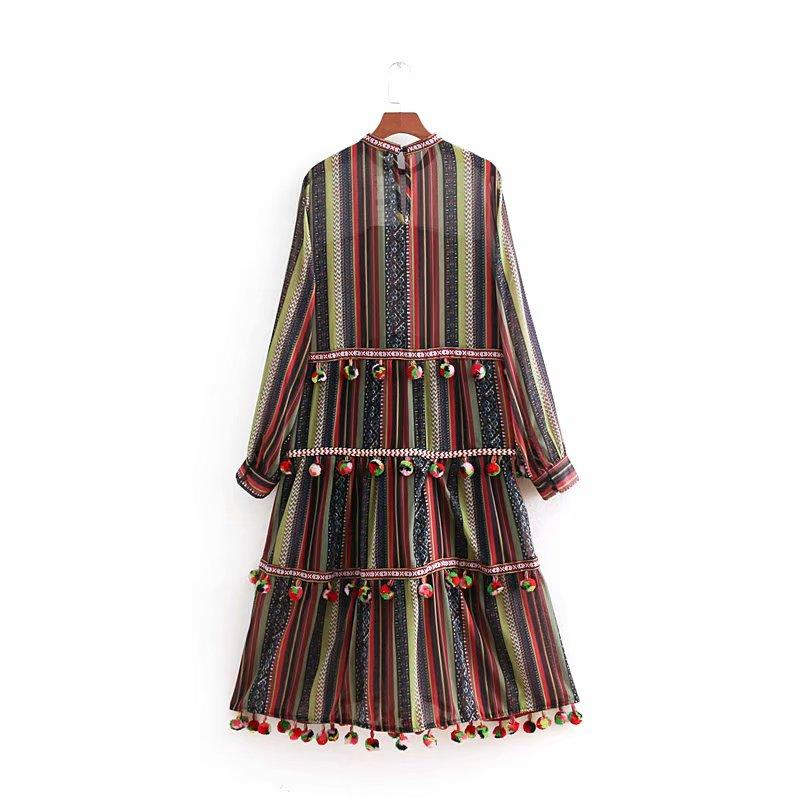Pompoms Trims Ethnic Vintage Striped A-line Midi Chiffon Dress