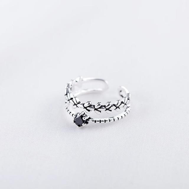 Boho Simplicity 925 Sterling Silver Leaves Open Ring