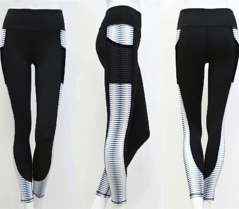 Pocket High Waist Workout Activewear Printing Patchwork Legging