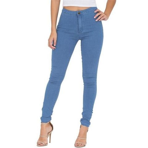 Skinny High Waist Jeans Woman Blue Denim Pencil Pants