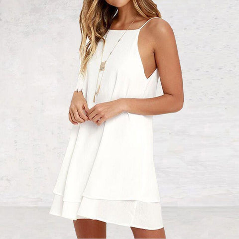 Backless Chiffon Sexy Spaghetti Strap Mini Casual Dress