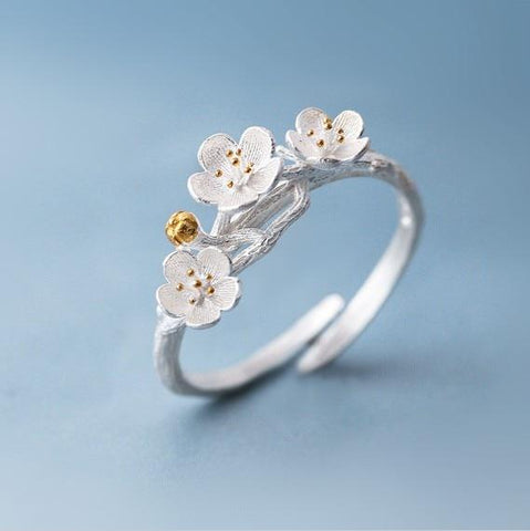 The cherry Blossom Branch Adjustable Ring