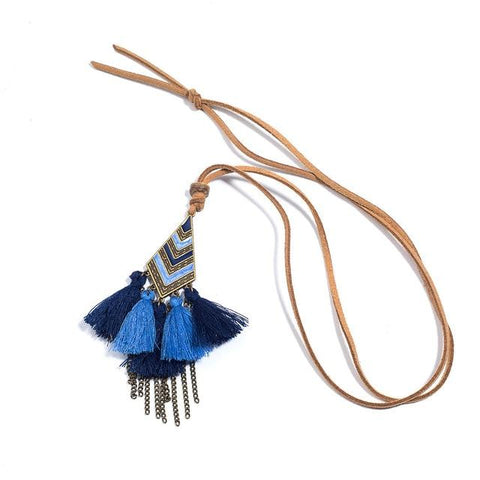 Bohemian Colorful tassel Geometric necklace