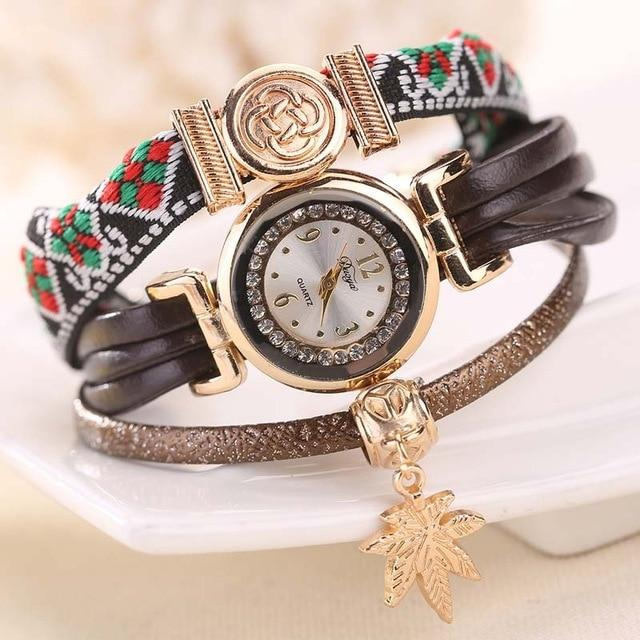 Vintage Style Quartz Watch Women Boho Maple Pendant Bracelet Watch