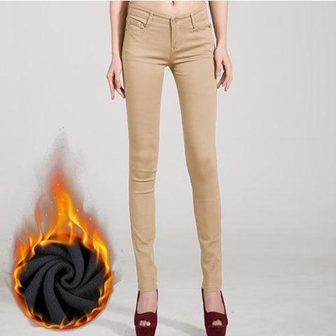 Candy Color Thick Velvet Winter Warm Jeans