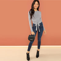 Solid Tie Backless Knot Elegant Skinny Grey Bodysuit