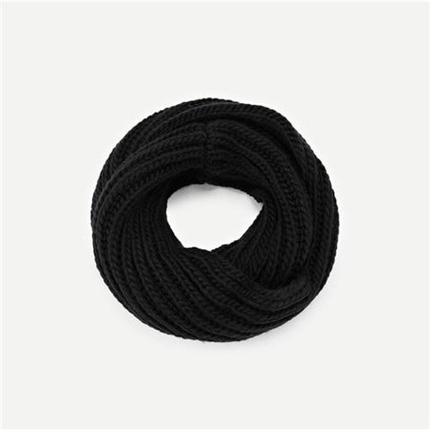 Black Modern Lady Casual Knit Infinity Scarf