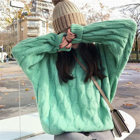 Long Sleeve Twist Knitted Pullovers Winter O Neck Ribbed Sweater