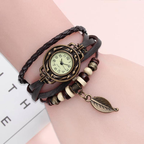 Vintage Bracelet Boho Leather Strap Leaf Pendant Quartz