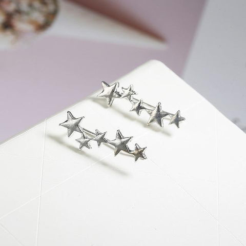 Moon Star Ear Climber Tiny Star Moon Stud Earrings