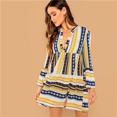Vacation Casual Striped Mixed Flounce Sleeve Ruffle Dress