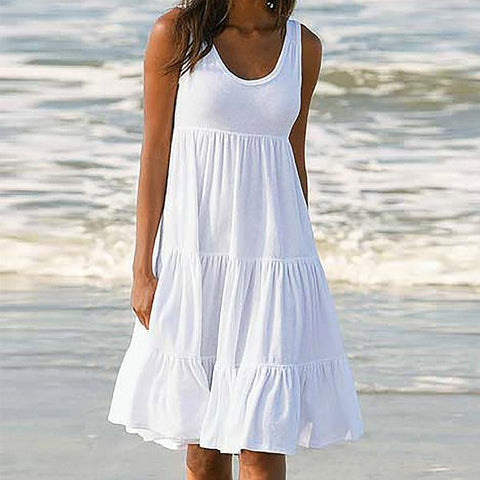 Sleeveless Party Beach Dress Lace Loose Solid casual dress