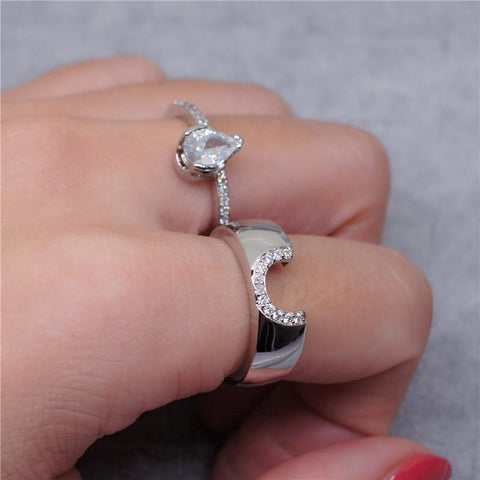 2pcs/set Waterdrop Pear Cut Cubic Zironia Micro Pave Ring