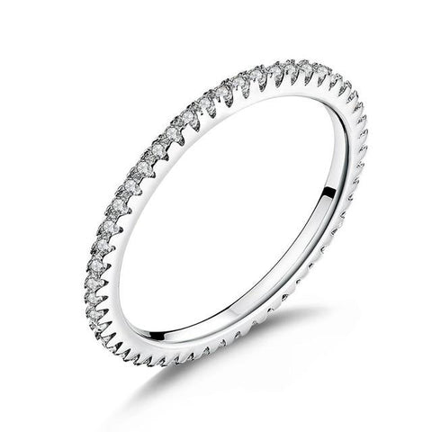 Silver Glitter Stackable Circle Finger Ring