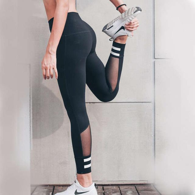 Black with white stripped Fitness Yoga Pants Leggings