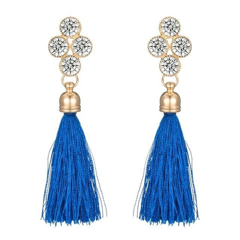 Bohemia Tassel Earrings Crystal Drop Earrings
