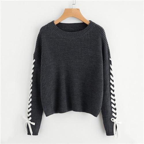 Grey Contrast Whipstitch Detail Jumper Soft Knit Sweater