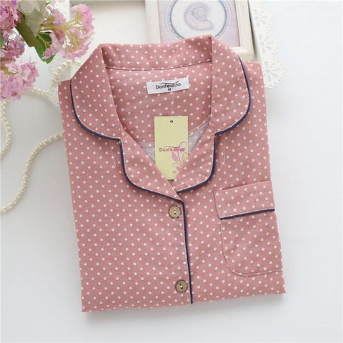 Simple Polka Dot Spring cotton pajamas sets
