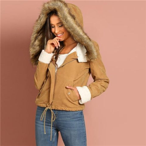 Khaki Casual Drawstring Hem Pocket Faux Fur Zipper Jacket