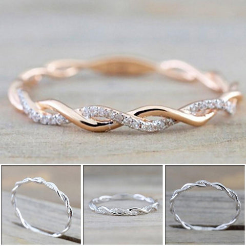 Round Thin Twist Rope Stacking  Stainless Steel Ring