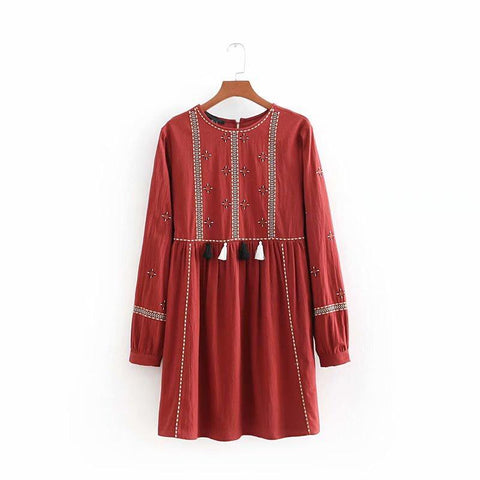 Front Tassel Trims Embroidery Dress