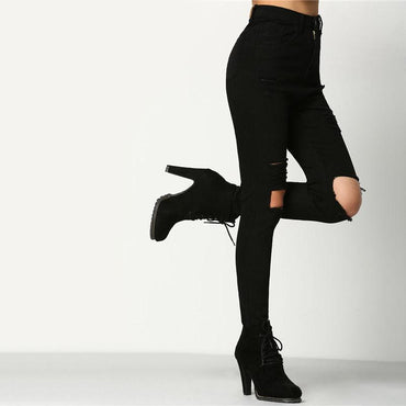 Cut Out Knee Ripped Casual Black Mid Waist Skinny Jeans