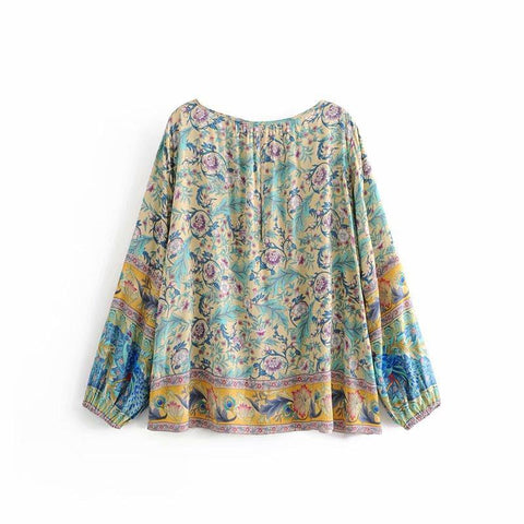 Boho Floral Print  Sashes Top