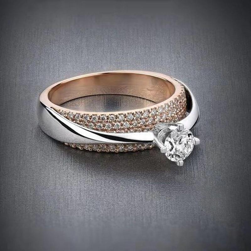 Rose Gold Color Shine Zircon Crystal Finger Ring