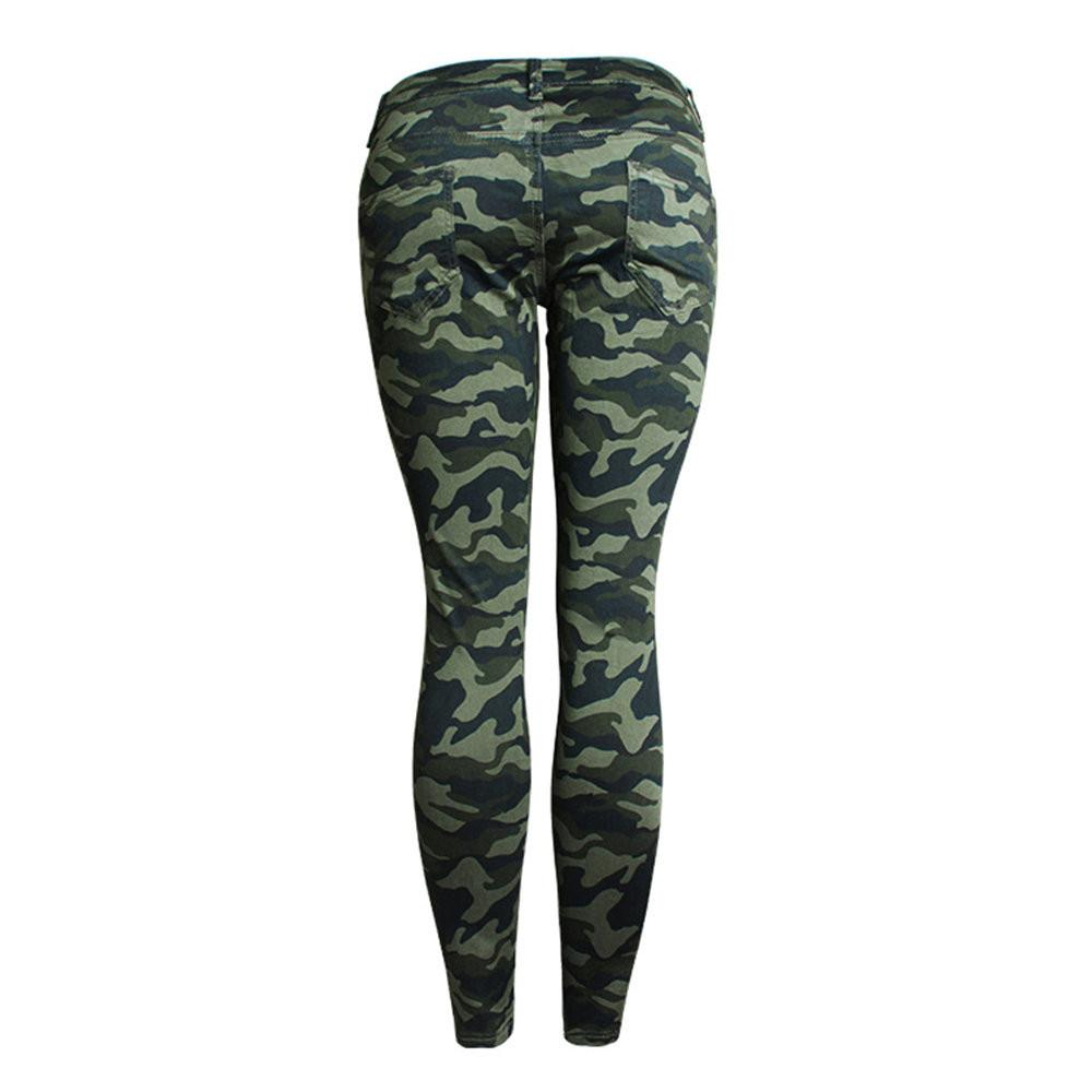 Camouflage Cropped Pencil Pants