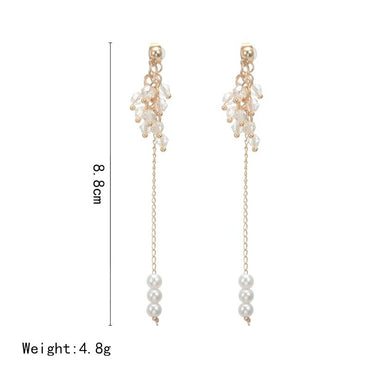 Beaded Statement Long Chain Drop Earrings