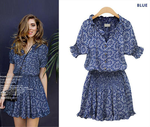 Printed Cotton Casual Wild V-neck Button Dress