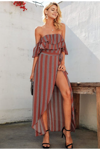 Sexy striped women long linen Off shoulder dress