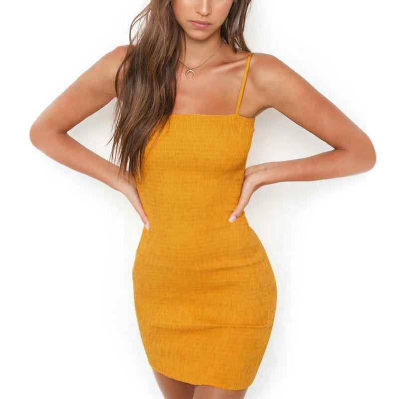 Vintage Solid Summer Pencil  Sleeveless Strap Sexy Sheath Dress