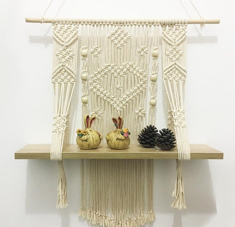 Macrame wall hanging shelf woven plant holder
