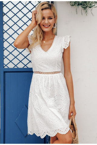Sexy white ruffle cotton lace Vintage dress