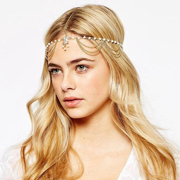Trendy Hair Decoration Indian Boho Head Chain Pearl Headpiece