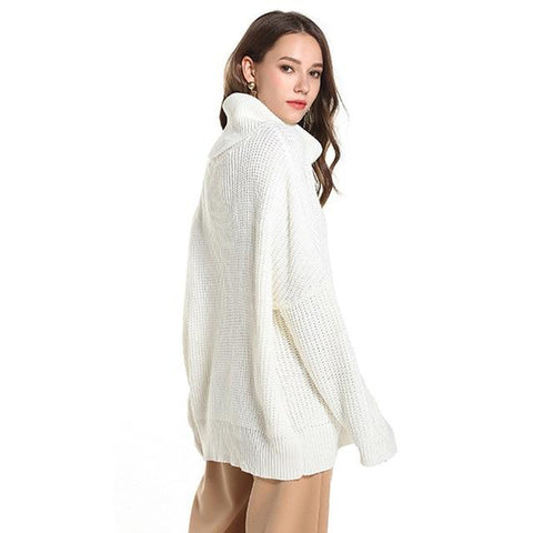 Casual Solid Turtleneck Oversize Long Sleeve Mini Knitted Sweater