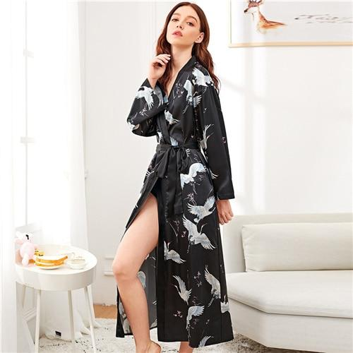 Black Solid Crane Print Satin Longline Elegant Robe Sleep wear