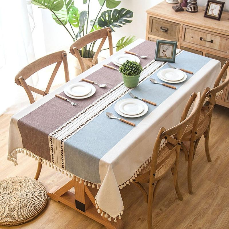 Plaid Decorative Linen Tablecloth